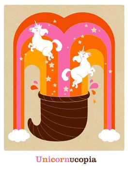 Unicornucopia thanksgiving card