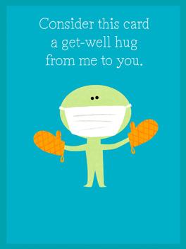 A get-well hug feel better card