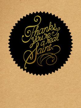 naughty saint thanks card