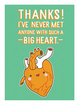 big heart thanks card