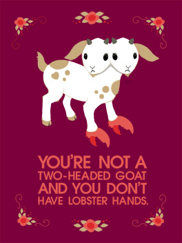 two-headed goat cheer-ups card