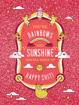 sunshine + rainbows friends rule card