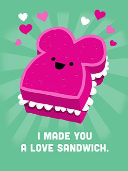 love sandwich valentine's day card