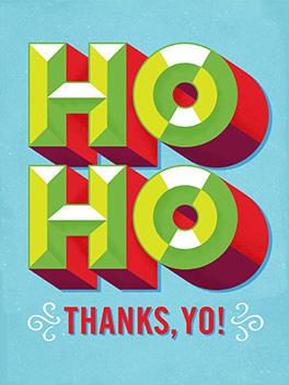 ho ho thanks, yo! christmas card